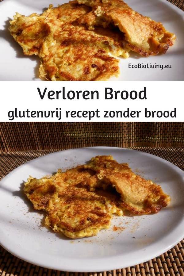 Verloren brood (glutenvrij, zuivelvrij) op een bordje voor een gezond ontbijt.